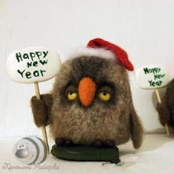 新年圣诞主题羊毛毡猫头鹰玩偶DIY手工制作