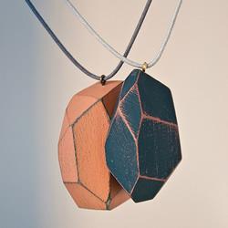 木块切割出多面体 DIY制作时尚项链坠子