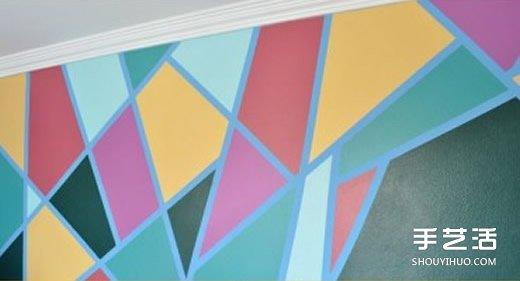 简单墙画手绘diy 用好胶带纸就可以轻松搞定