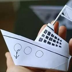 手工折纸轮船折法图解 简单儿童折轮船的折法