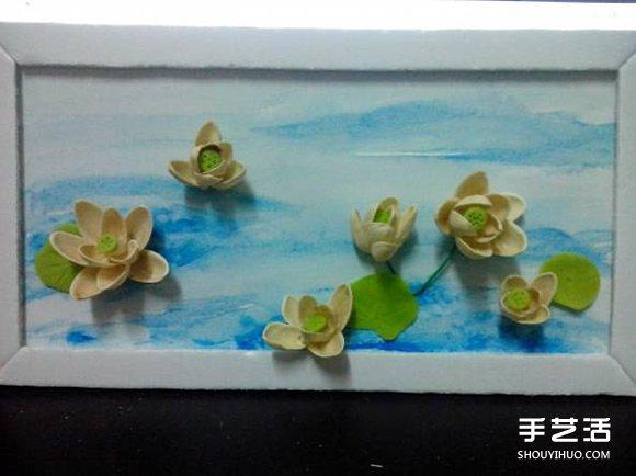 开心果壳创意粘贴画 开心果壳粘贴荷花装饰画