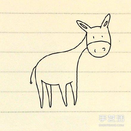 小毛驢的簡筆畫教學 簡筆畫毛驢的畫法圖片