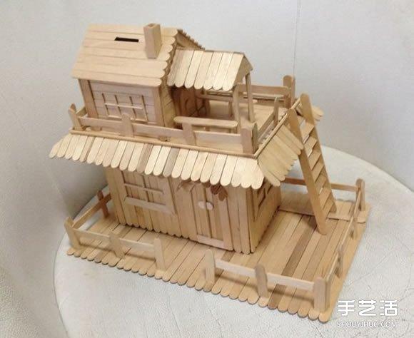废物利用 雪糕棍  雪糕棍制作二楼的小房子