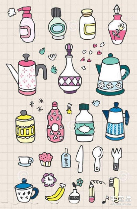 手账素材简笔画 包括动物食物爱心及生活用品