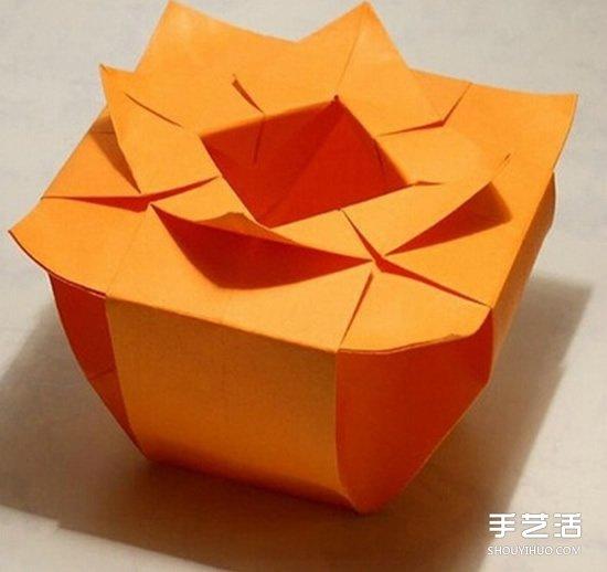 手工折纸花盆图解 复杂花盆的折法步骤教程