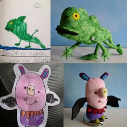 将4岁儿子涂鸦作品制作成毛绒玩具 爱心