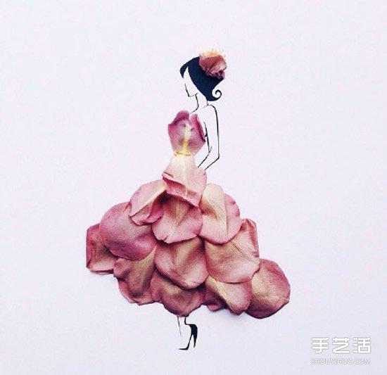 创意花瓣拼画DIY图片 简单画出神态各异的美女图片