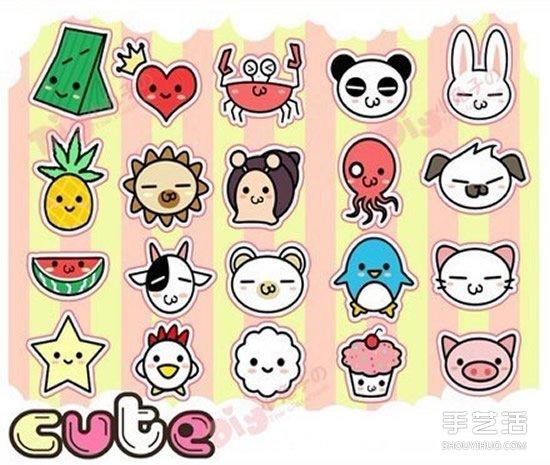 彩色手账简笔画素材 可爱手账素材简笔画图片 - www.shouyihuo.com