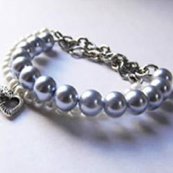 时尚、大气的双排串珠珍珠手链DIY制作图解