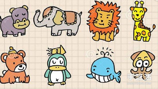 可爱动物简笔画手账素材图片
