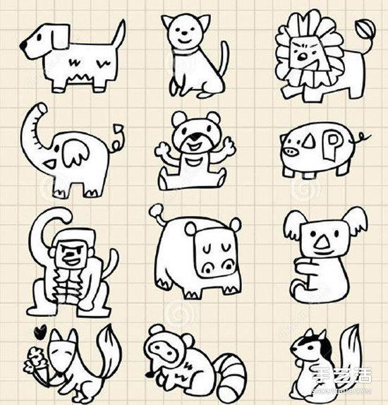 可爱动物简笔画手账素材图片 黑白彩色全有