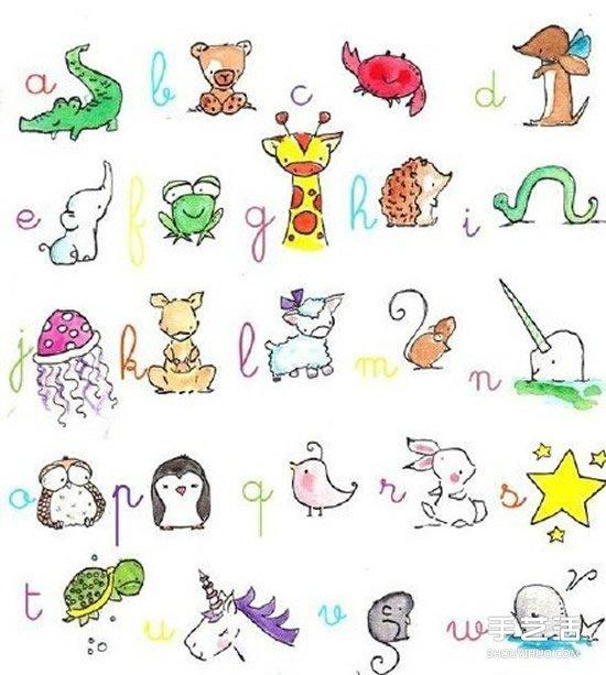 可爱动物简笔画手账素材图片 黑白彩色全有!