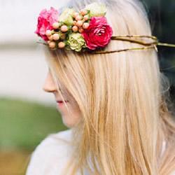 新娘花环头饰制作方法 DIY新娘鲜花花环教程