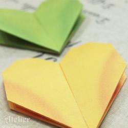 双层爱心折法步骤图 可用在婚礼请柬作为封口