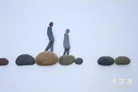 情侣石头拼画图片 创意石头拼贴画情侣小人