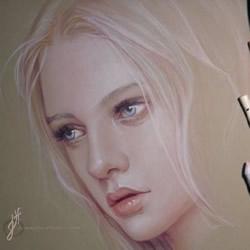 细腻逼真的女生人物肖像彩铅画作品图片