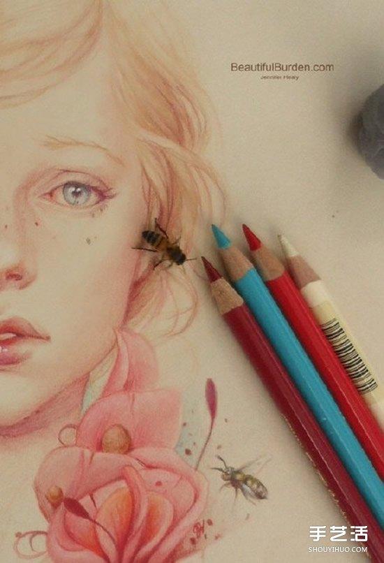 細膩逼真的女生人物肖像彩鉛畫作品圖片