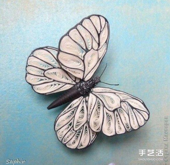 漂亮的衍纸蝴蝶图片 手工卷纸蝴蝶作品欣赏 -  www.shouyihuo.com
