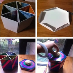 废卡利用做六角形收纳罐的方法图解教程