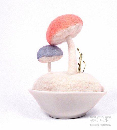 美好的羊毛毡蘑菇作品图片 让你的心灵净化 -  www.shouyihuo.com