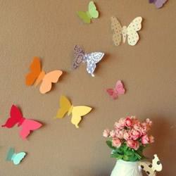 剪纸蝴蝶的创意 粘贴到墙壁或灯罩等都很漂亮