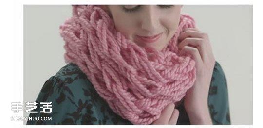 用手织出围脖的教程 不用工具织围巾的方法