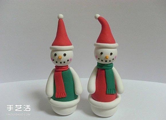 超轻粘土雪人的做法 粘土手工制作雪人人偶