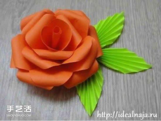 纸玫瑰的简单折法图解