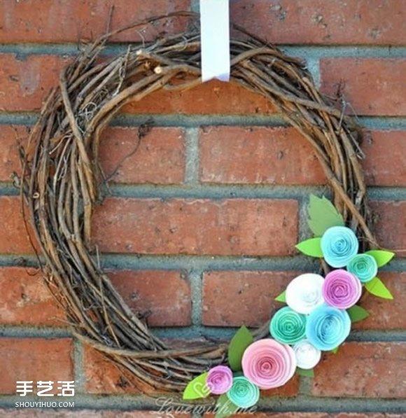 田园风花环手工制作 简单装饰花环的做法图解