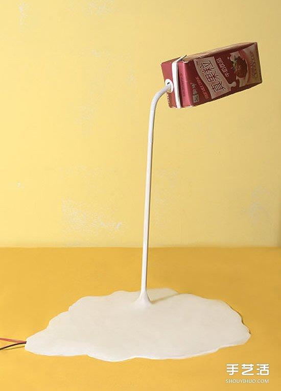 牛奶盒废物利用diy制作创意台灯的方法步骤
