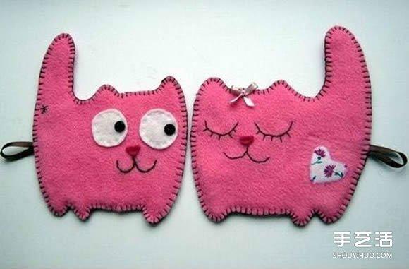 不织布猫咪挂件制作 简单布艺猫咪挂饰DIY图纸图片
