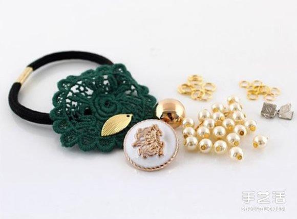 珍珠装饰发绳DIY图解 串珠果实发绳手工制作 -  www.shouyihuo.com