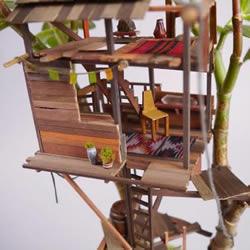迷你树屋模型图片 在盆栽上搭造出小小世界