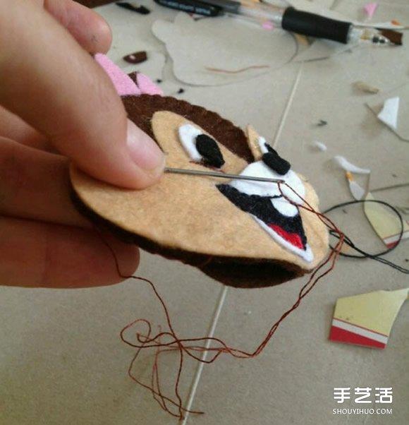 不织布松鼠头像制作 详细手工布艺松鼠饰品