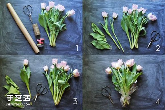 牛皮纸包花的方法图解 鲜花的包法牛皮纸教程 -  www.shouyihuo.com
