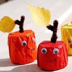 幼儿大树果实手工制作 卷纸筒和餐盘废物利用