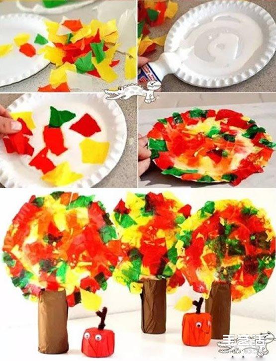 幼儿大树果实手工制作 卷纸筒和餐盘废物利用- www.shouyihuo.net