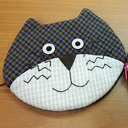 不织布猫咪头零钱包DIY 布艺猫咪头零钱包制作