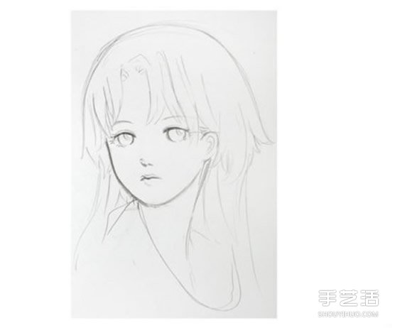 长发少女铅笔画教程 少女人物肖像素描图解