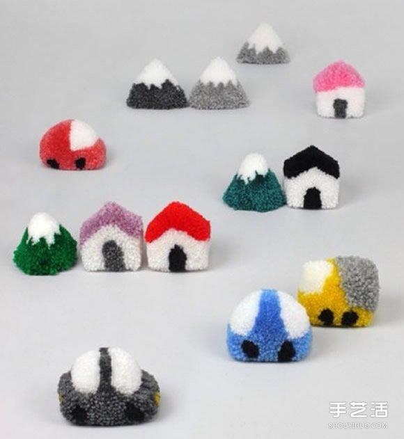 毛線球小房子的做法 可愛毛線小屋手工制作