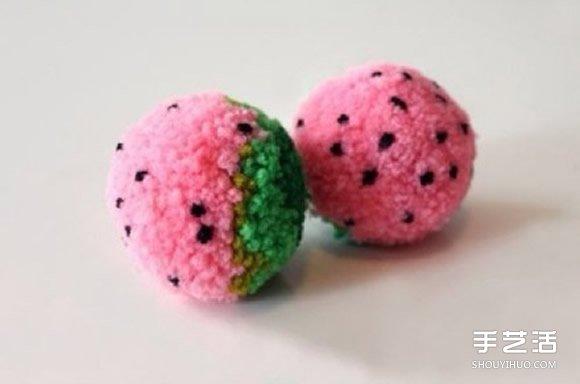 漂亮手工毛线花球制作 毛线花球的做法步骤图_产品_泊