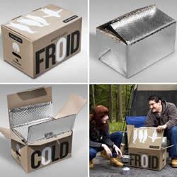 废弃纸箱和锡箔材料手工DIY制作便携冰箱