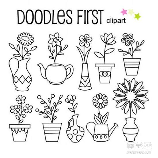 一组简单的简笔画图片,漂亮盆栽、生活日用品、各种交通工具、房屋