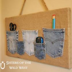 旧牛仔裤口袋改造DIY制作百宝工具收纳袋