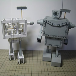 齿轮驱动纸机器人模型 手工自驱动纸机器人图片
