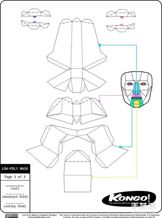 面具立体纸雕的做法派对用卡纸尺寸手工v面具号0面具标签图纸图片