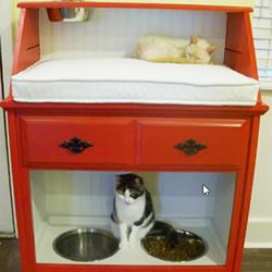 旧柜子翻新改造教程 做成功能超全的漂亮猫窝