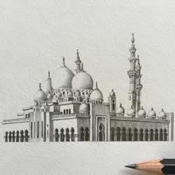 感受清真寺的庄严华丽 极细腻建筑铅笔素描