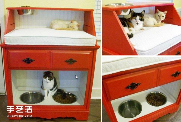 旧柜子翻新改造教程 做成功能超全的漂亮猫窝 -  www.shouyihuo.com