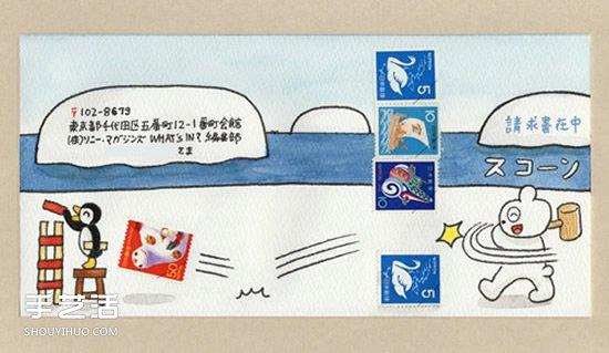 与邮票结合的创意手绘信封 看完就想写信咯!